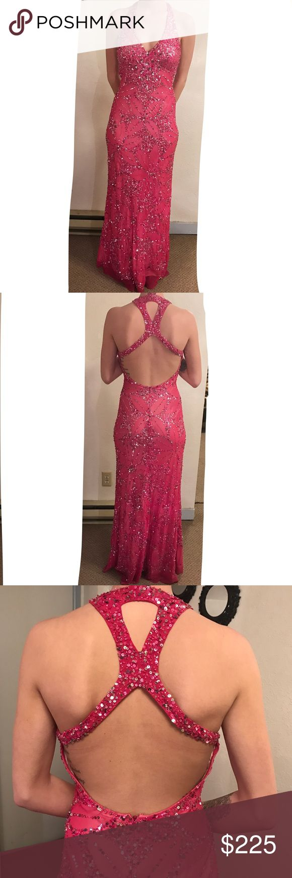 Beautiful Sequin Pink Prom Dress 💕🎀 Beautiful fully sequined pink prom dress, only worn once. It is size 2, and true to size but can always be hemmed to fit smaller. It's perfectly long, I am 5'8 and wearing 5 inch heels in this photo and it's still touching the floor so its perfect for tall and short girls ❤️ Like new, no snags, tears or problems. Very expensive so it's great quality, and condition ⭐️it also has push up bra pads sewed in, but can be removed with a snip of a thread ✨ Feel…