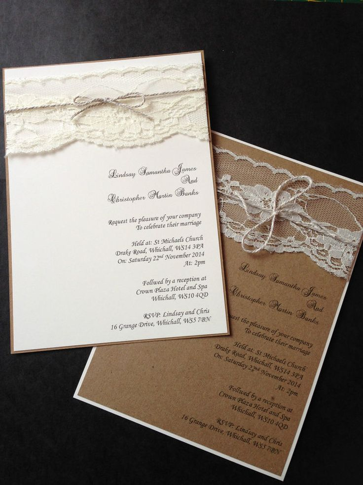 how to make film canister wedding invitations%0A    Handmade Personalise Vintage Rustic Lace Shabby Chic Wedding Invitation  Eve