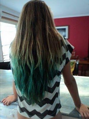 Green dip dye hair