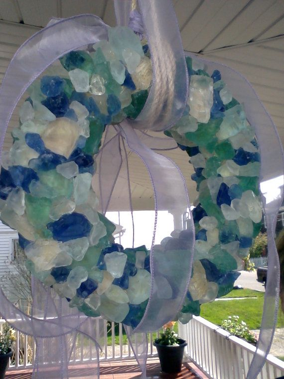 Sea Glass Wreath by NewEnglandTreasure on Etsy, $135.00