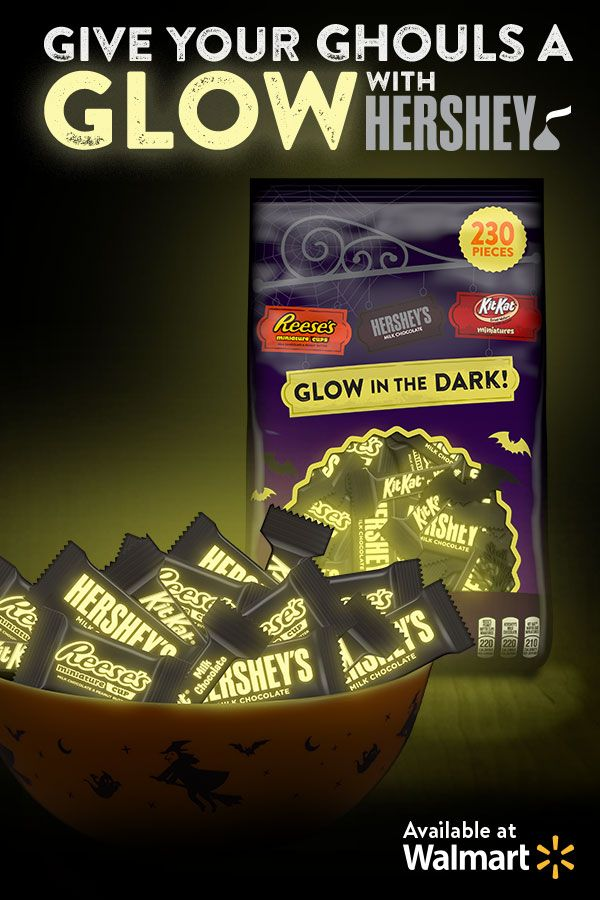 Glow in the dark treats from HERSHEY. Click here to get glow in the dark treats from Walmart.
