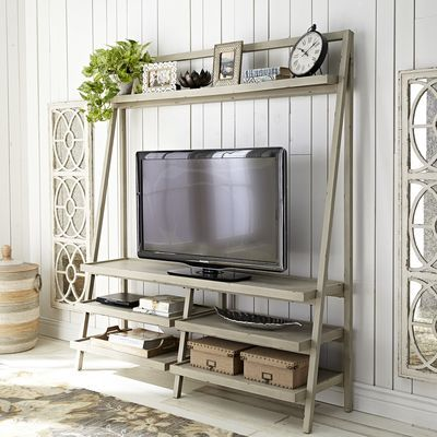 Morgan Tall TV Stand - Linen Gray