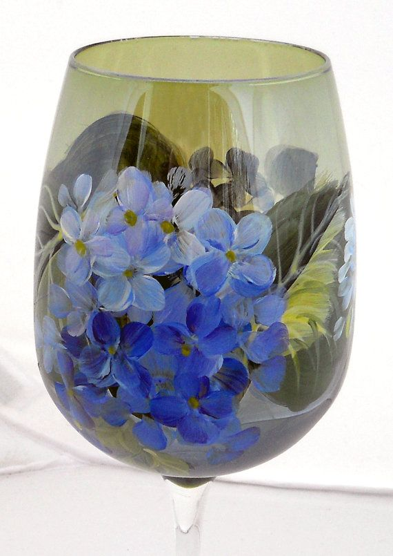 Blue Hydrangeas Hand Painted Wine Glass by ChippyGreen on Etsy, $15.00