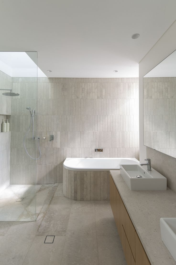 (c) Brett Boardman Bathroom Tiles Light Bath Rain Shower