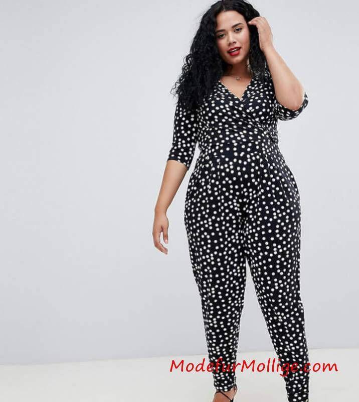 Gemusterter Overall – Mode inGroße Größen Styling Tipps für Mollige Frauen   Mode für Mollige Frauen – #GroßenGrößen #modefürmollige #damenmode #outfit