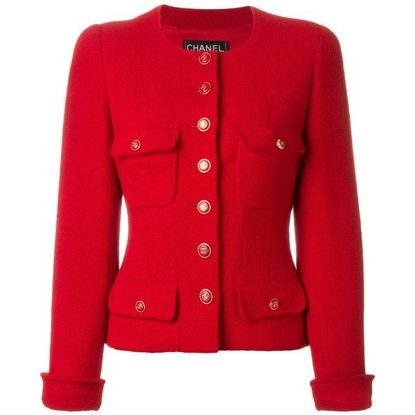 Chanel Vintage Bouclé Jacket ($2,553) ❤ liked on Polyvore featuring outerwear, jackets, red, red jacket, red boucle jacket, collarless jacket, lined jacket and long sleeve jacket