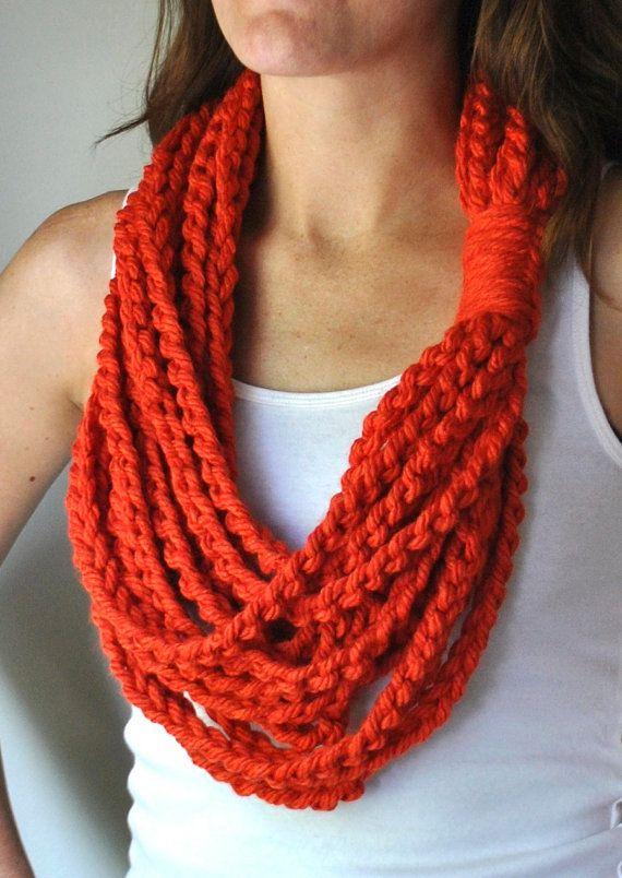 Orange Scarf Necklace . Mid Length . Orange Infinity Scarf . Orange Scarf…