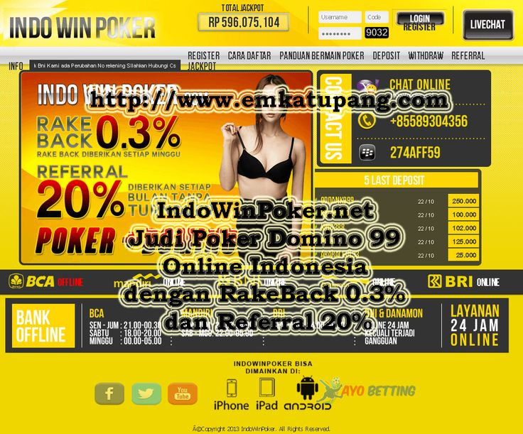 http://www.emkatupang.com/indowinpoker-net-judi-poker-domino-99-online-indonesia-dengan-rakeback-0-3-dan-referral-20/ INDOWINPOKER NET JUDI POKER DOMINO 99 ONLINE INDONESIA DENGAN RAKEBACK 0.3% DAN REFERRAL 20% http://www.emkatupang.com/indowinpoker-net-judi-poker-domino-99-online-indonesia-dengan-rakeback-0-3-dan-referral-20/