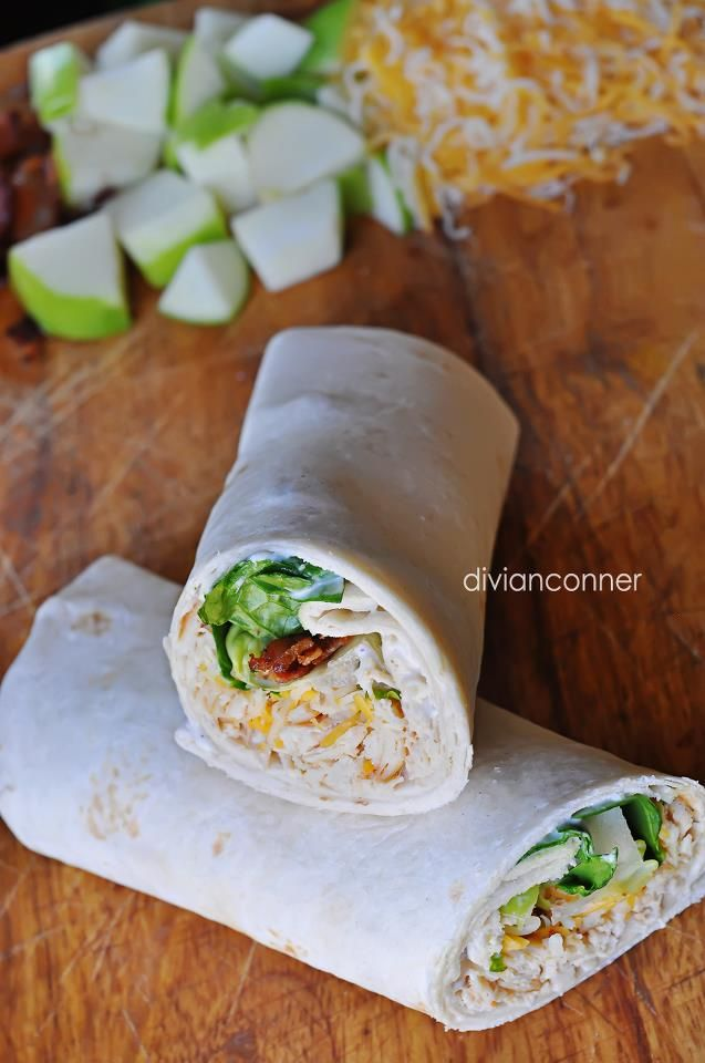 divianconner: Chicken Bacon Apple Wraps  Try This with deep fried chicken strips. It is the best!!!