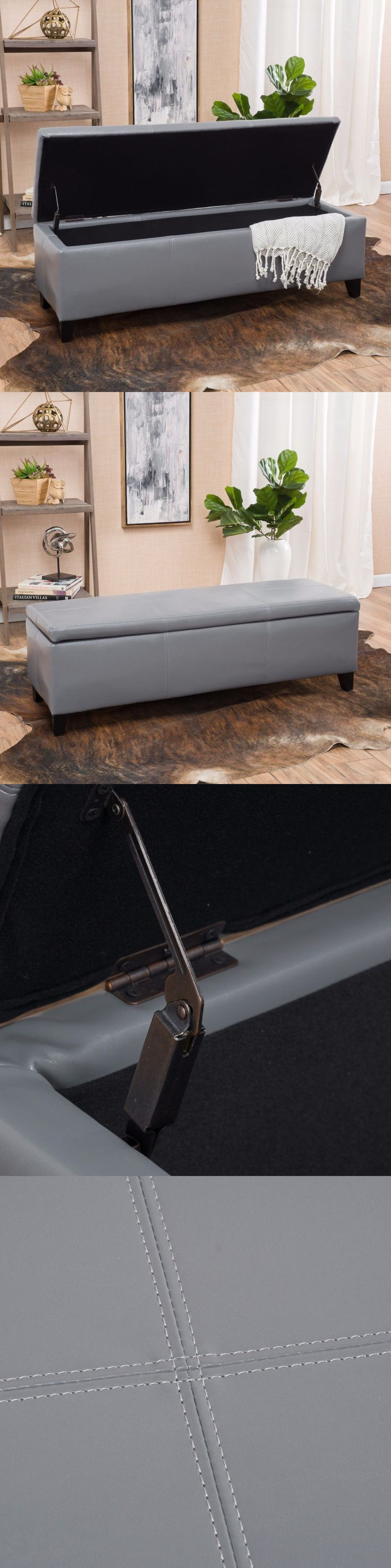 Ottomans Footstools and Poufs 20490: Contemporary Grey Leather Storage Ottoman Bench -> BUY IT NOW ONLY: $85.99 on eBay!