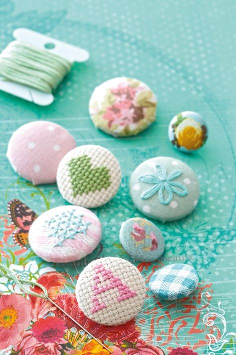 DIY:: LOVE !! Covered buttons, these would be so cute as part of a quilted pillow.