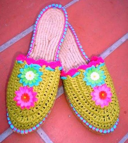 Zapatillas Ganchillo, Sandalias Tejidas, Babuchas, Crochet Zapatos, Pantuflas, Caminar, Modelo 1, Calzados Crochet, Azules
