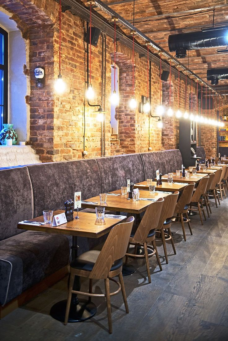 Exposed brick restaurant design pinterest