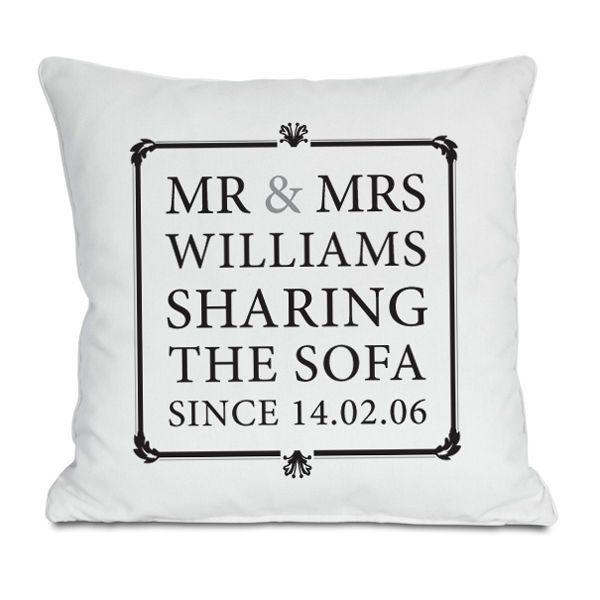 Personalised Mr & Mrs Sharing The Sofa Cushion - Wedding & Anniversary Gifts