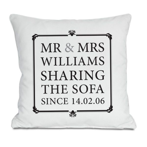 Personalised Mr & Mrs Sharing The Sofa Cushion - Wedding & Anniversary Gifts