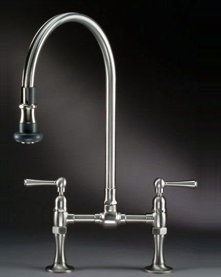 Jaclo's Steam Valve Original deck mount bridge faucet with pull-off spout