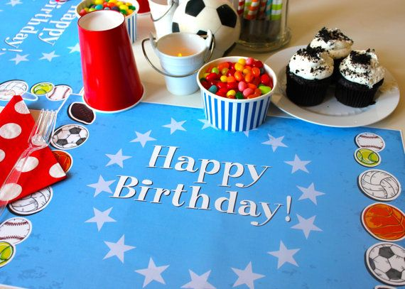 Personalized Paper Placemat For A Sport Birthday Theme By TIPgifts
