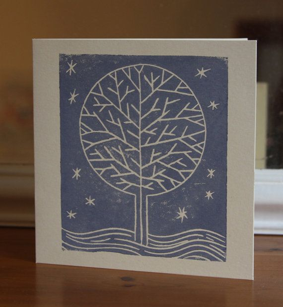 Linocut Yuletide Tree christmas card by Zombie pomegranate