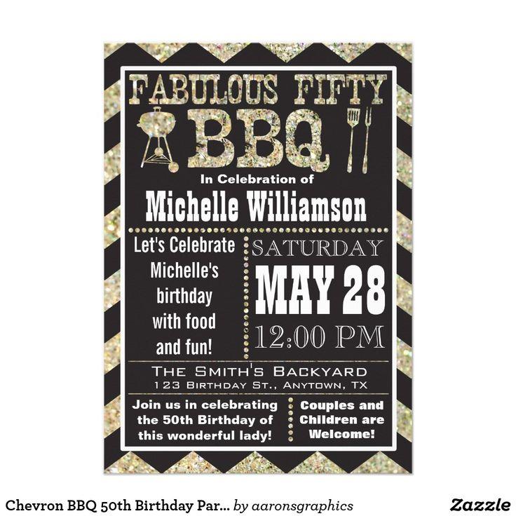 wording0th birthday party invitation%0A Chevron BBQ   th Birthday Party Invitation