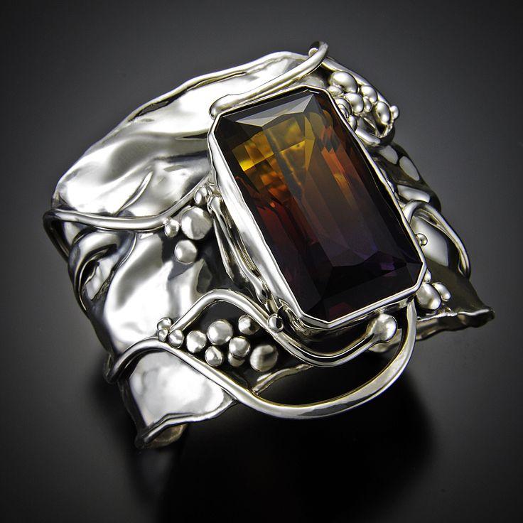 Ametrine in sterling silver cuff bracelet