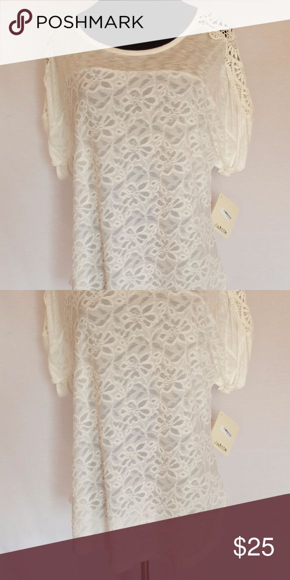 LACE AND CROCHET DETAIL WHITE TUNIC TOP NEW CUBISM LACE AND CROCHET DETAIL WHITE TUNIC TOP SIZE LARGE  Manufacturer: CUBISM Size: L Size Origin: US Manufacturer Color: WHITE Condition: New with tags Style Type: PULL OVER TUNIC  Sleeve Length: SHORT Closure: N/A Fabric Type: POLYESTER Cubism Tops Tunics