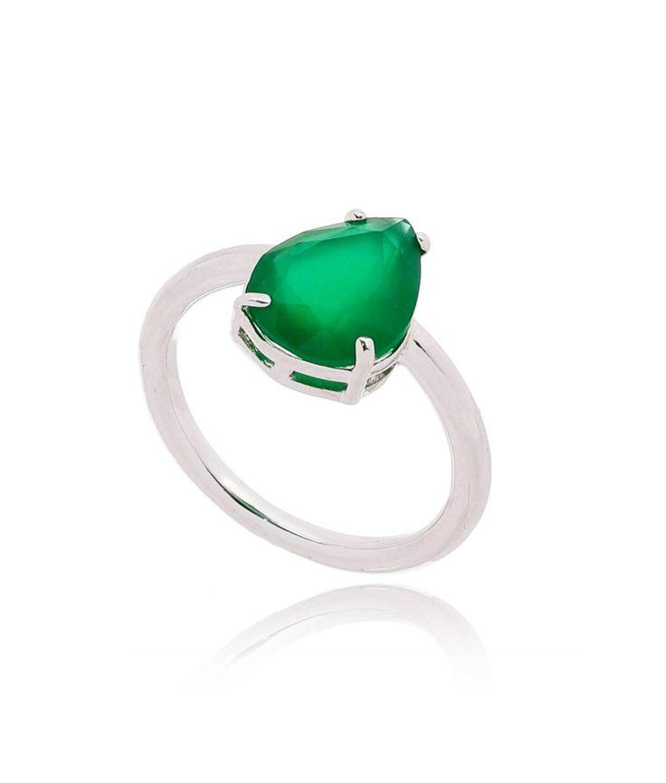 Anel gota verde esmeralda banho rodio semi joia fina