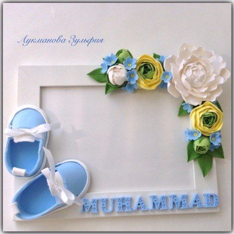 Photo frames with flowers and booties handmade from polymer clay! It will be a great decoration Inter ... Photo # 2