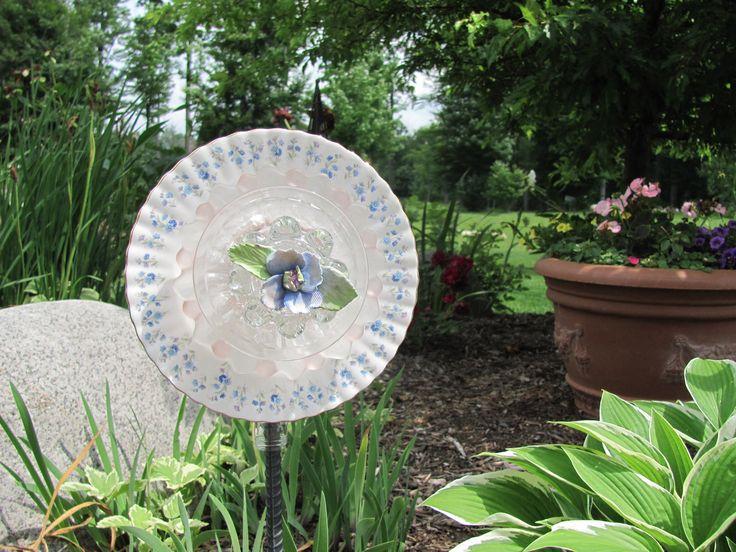 34 best ideas about glass garden art on pinterest for Garden art from old dishes