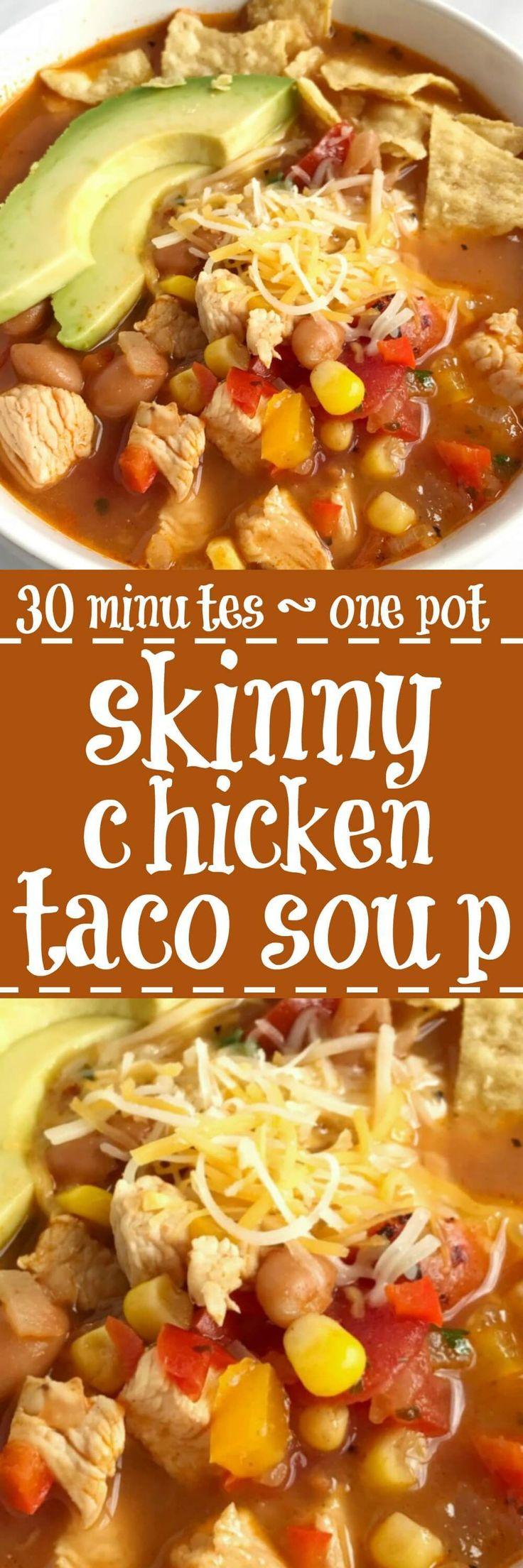 Skinny chicken taco soup only takes 30 minutes to have on the dinner table and it's all cooked in just one pot! Get a healthy, delicious, and comforting dinner on the table in record time and with hardly any dishes. The leftovers make a great lunch for the next day | togetherasfamily.com
