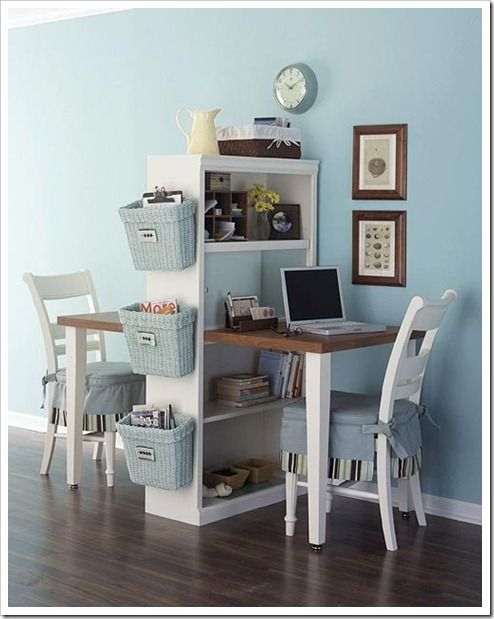 How clever is this dual homework station? Don't you love the storage baskets?