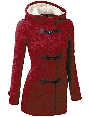 FANTIGO Femme Mode Manteaux à Capuche Bouton Corne Manches Longues Épais  Casual Hiver Chaud Vest  350d1125653