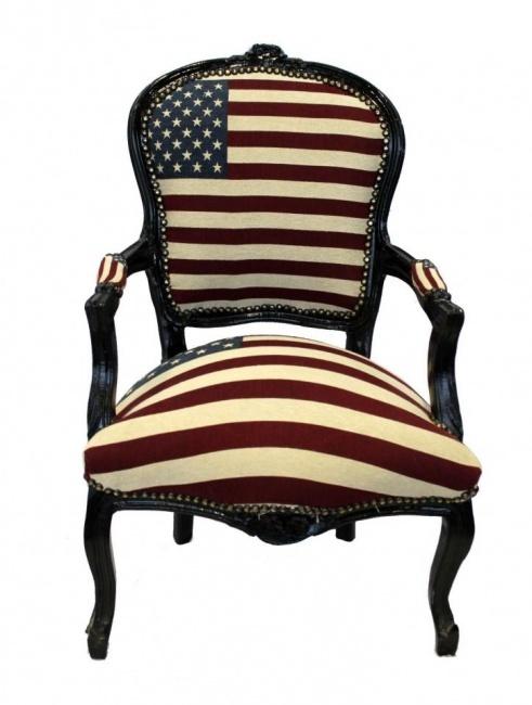 USA, land of hope, dreams and opportunities. Met de Amerikaanse vlag als symbool voor deze kernwaardes zit je goed met deze stoel! - Stoere barokke armstoel met Amerikaanse vlag.