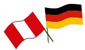 Bandera Alemania Peru Deutschland Fahne, teil des Logos des Reiseveranstalters Chirmoya Tours.