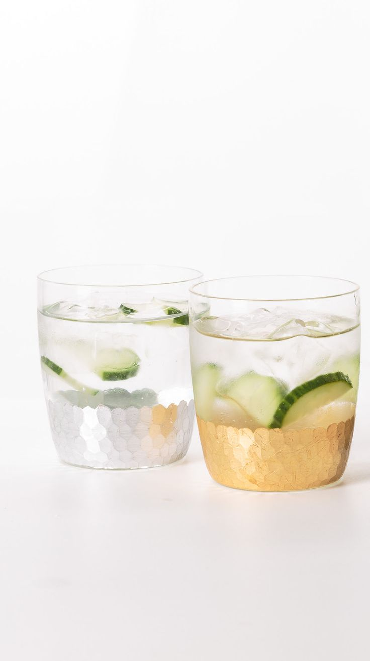 Mix your metals with our Set of Four Mixed Metallic Glass Tumblers.