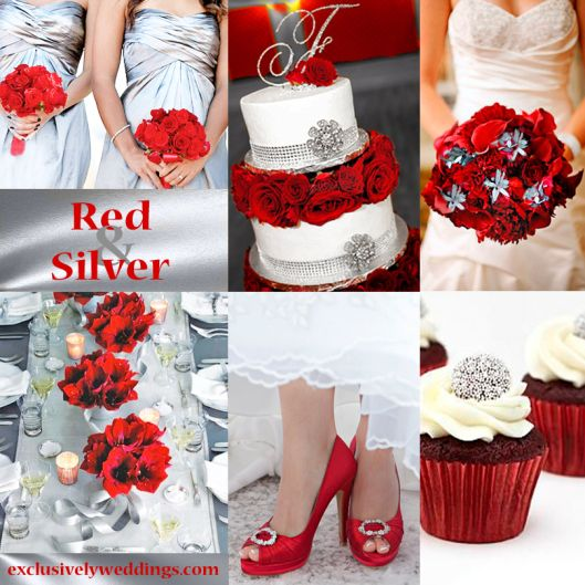Red and Silver. It has a glamorous look and definitely adds pizzazz to your festivities!