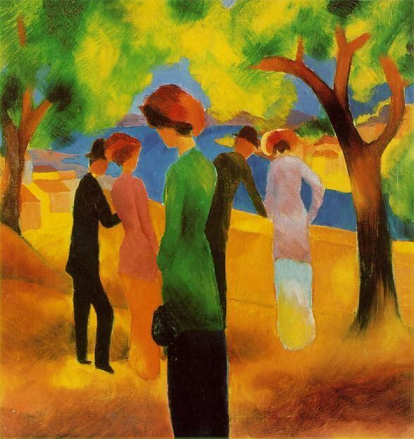 Lady in a Green Jacket by August Macke