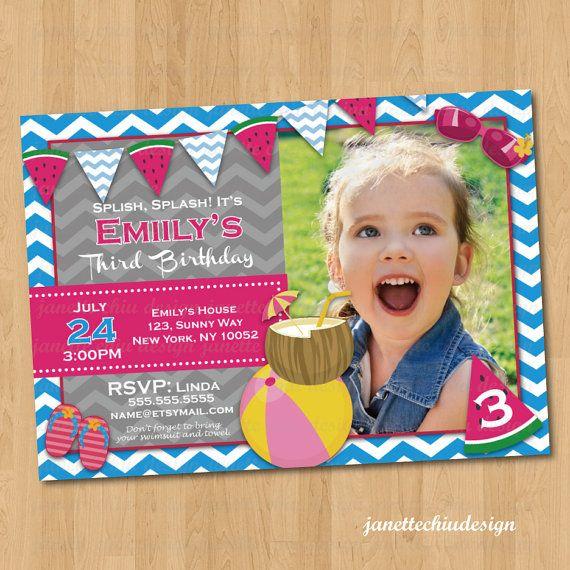 Summer Banner Birthday Party Photo Invitation Digital