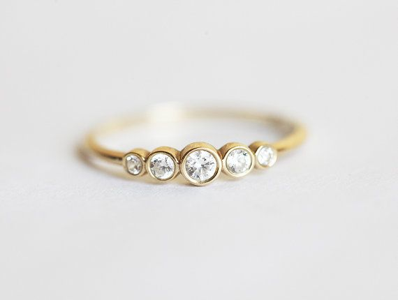 Five Diamond Band, 14k Yellow Solid Gold Diamond Ring, Diamond Engagement Ring, Simple Diamond Band