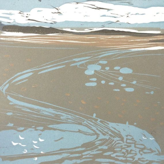 Linocut print Dublin Bay Dublin Dublin Port by irishprintmakers