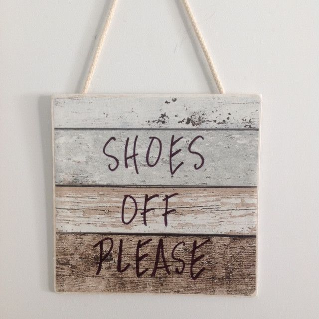 Shoes Off Please Warning Sign Hand Crafted for Front Door
