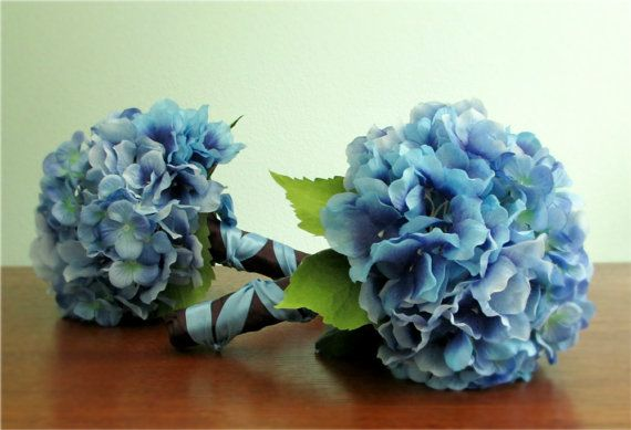 Grace Bouquets - Set of Two Blue and Purple Hydrangea Bridesmaids' Bouquets, custom colors also available