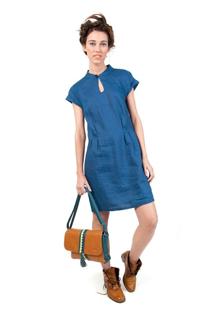 KIRSTY-112 SKUNKFUNK women's dress fabric content: 100% linen color: blue price: $135.00