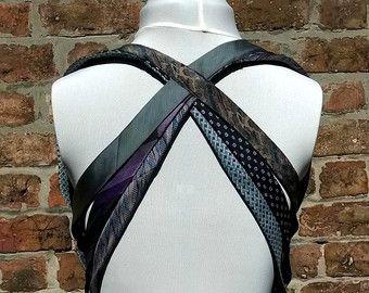 Festival chaleco en azul y púrpura, corbatas de reciclado, vintage reciclado chaleco, hecho a mano, eco amistoso ética ropa