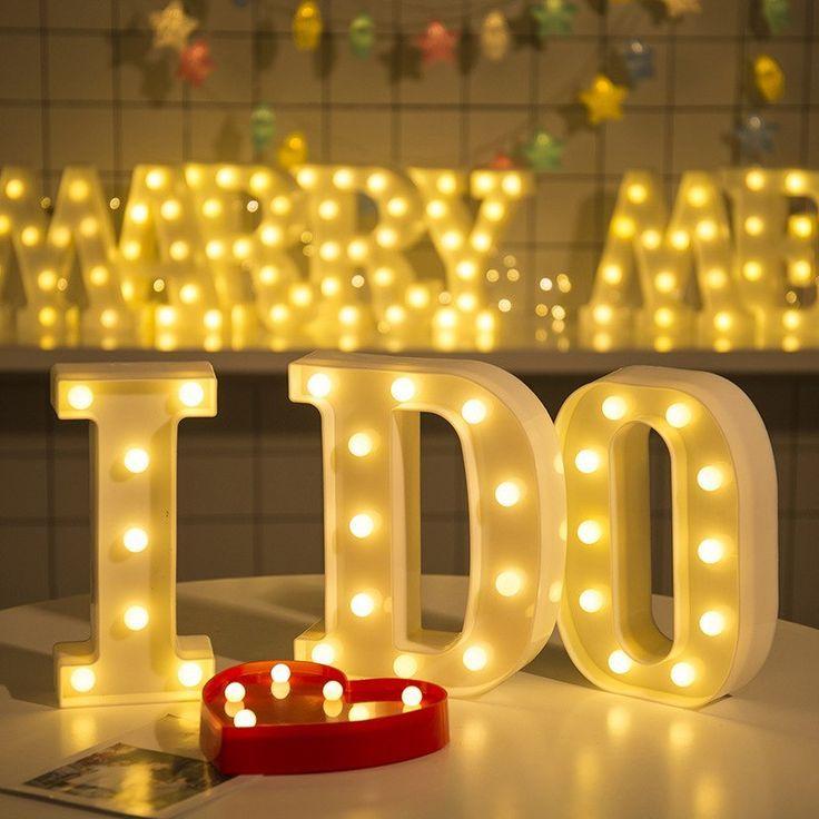 Us 3 7 20 Off Luminous Led Brief Nachtlicht Kreative 26 Englisch Alphabet Anzahl Batterie Lampe Romantis Light Up Letters Light Letters Letter Lights Wedding