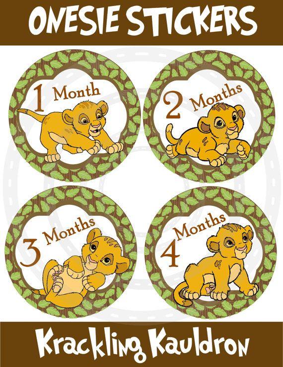 13 Lion King Baby Simba Onesie Stickers Monthly Onesie Stickers. $8.99, via Etsy.