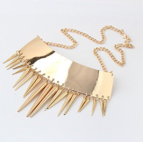 (Min order$10)Free Shipping!Europe and the United States metal texture exaggerated tassel conical Necklace (gold)!#91026 on AliExpress.com. $2.47