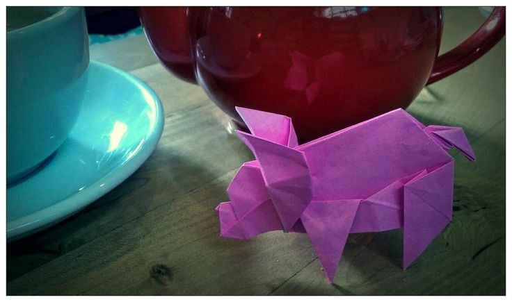 Cup of tea and a fold pig (Fuchimoto Muneji) folded by me to go with my @teapigs matcha green tea!