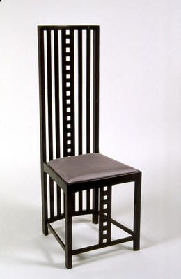 A chair designed in 1904 by Charles Rennie Mackintosh (1868-1928) for the Hill House in Helensburgh | ART NOUVEAU: RECTILINEAR (GLASGOW)