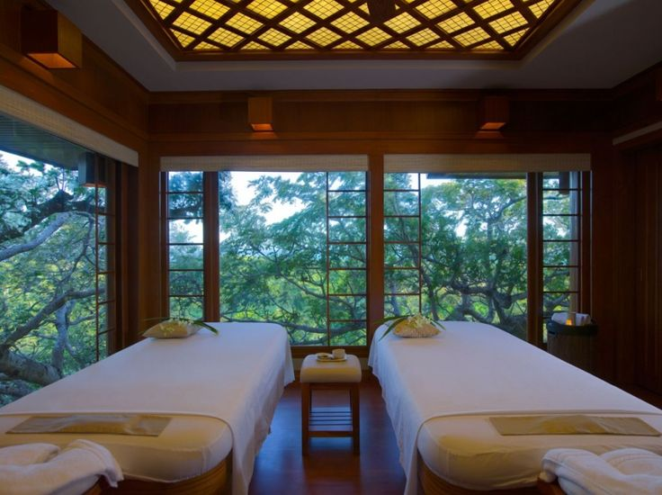 Wonderful Traditional 5 Star Resort Interior Design In Philippines Spa Treatment Room With Outside View Through Glazed Window
