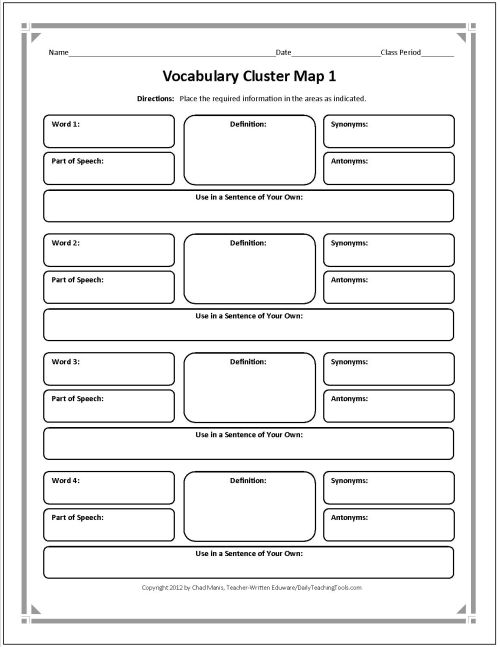 + ideas about Vocabulary Graphic Organizer on Pinterest | Vocabulary ...